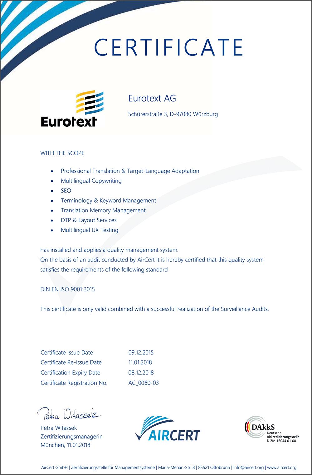 Eurotext AG Certificate 9001_2015
