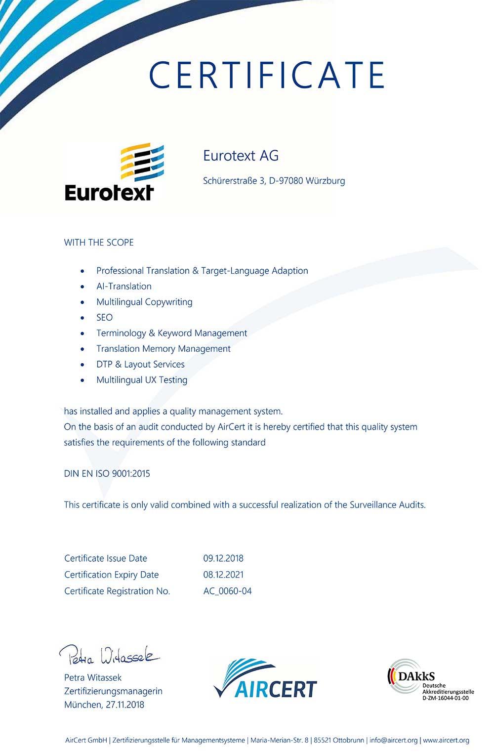 Eurotext AG – certyfikat zgodności tłumaczeń fachowych z normą 9001_2015