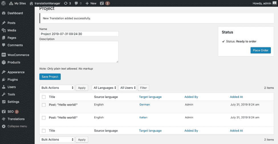 translationMANAGER for WordPress