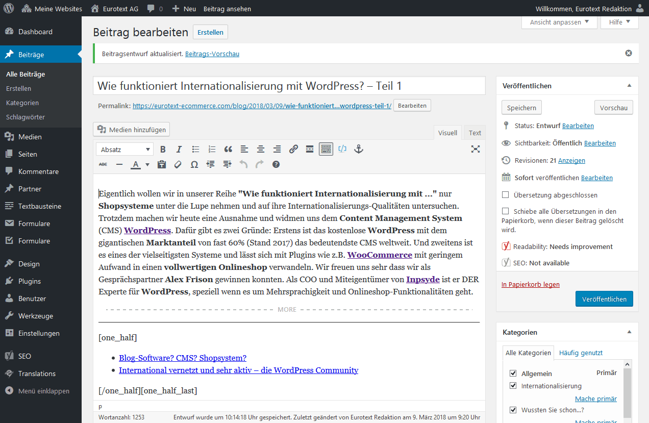 WordPress in action