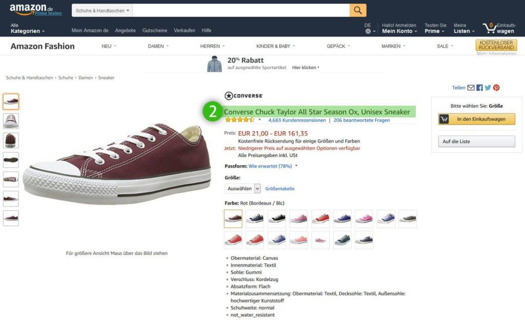 Amazon- - Der Produkttitel