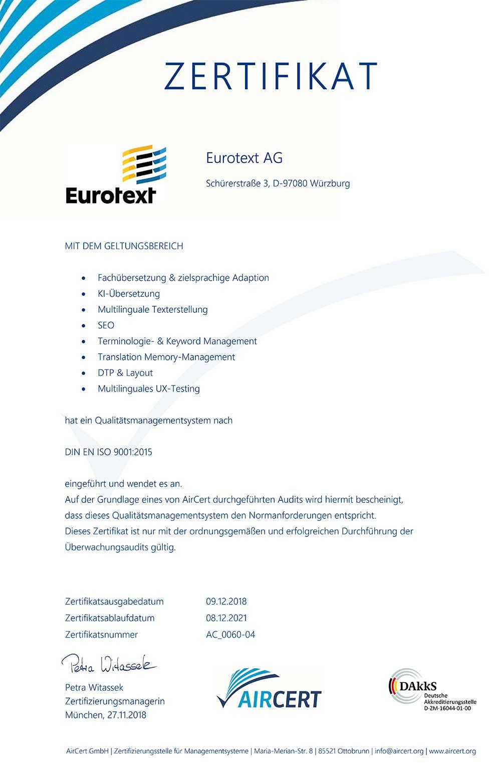 Eurotext AG Zertifikat 9001_2015 für Fachübersetzung
