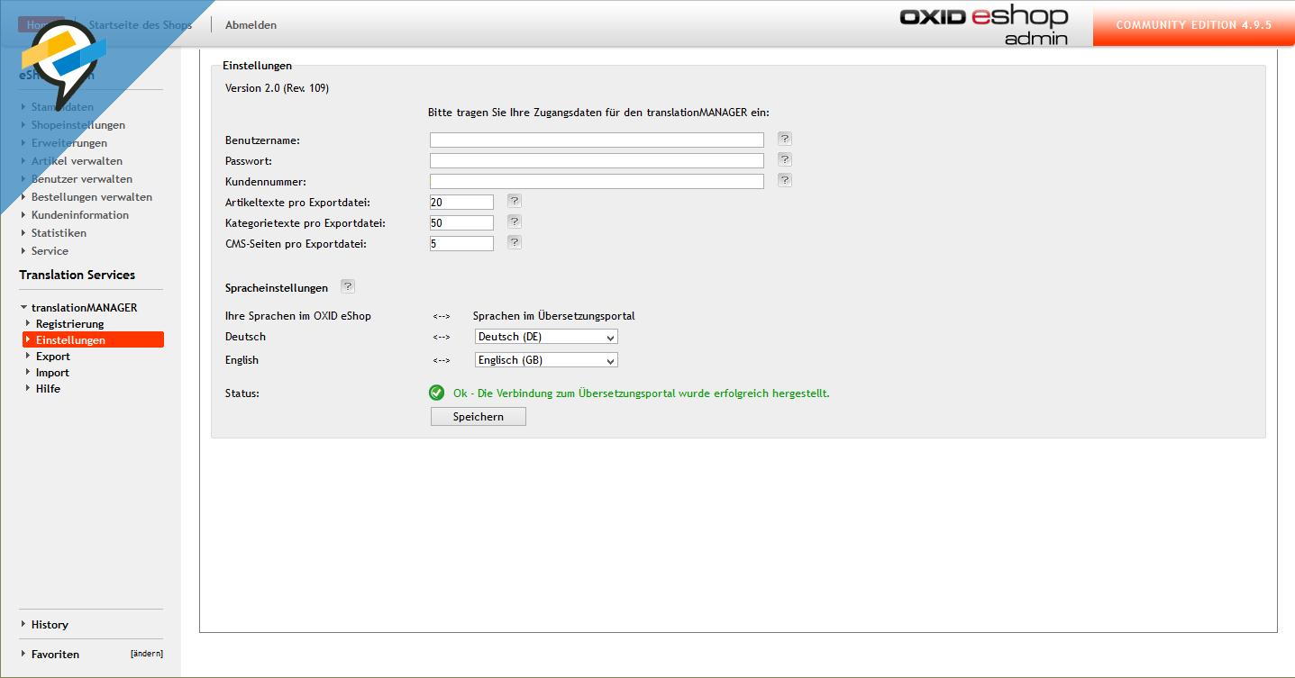 Setup und Einstellungen im translationMANAGER für OXID