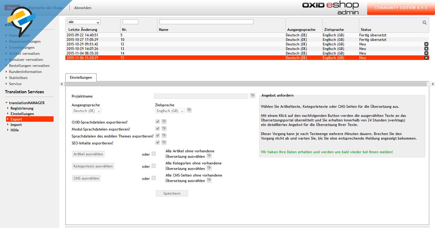 Export von Übersetzungen im translationMANAGER für OXID